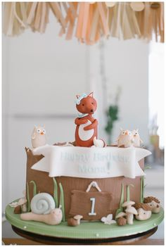 1. Geburtstag / Birthday - Fuchs/Fox, cake, decoration, gold, rose, peach - Hellbunt Events