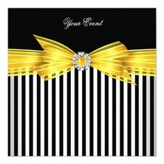 All Occasion Yellow Black White Stripe Party Invitation you will get best price offer lowest prices or diccount couponeThis Deals All Occasion Yellow Black White Stripe Party Invitation Online Secure Check out Quick and Easy. Striped Wedding, Yellow Wedding, Black White Stripes, Yellow Black, Black Tie, Black And White Party Decorations, Batman Wedding, Bee Party, Party Invitations