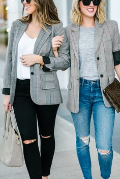 Plaid Boyfriend Blazer Styled Two Ways//Oversized blazer//plaid blazer//herringbone blazer//boyfriend blazer//louis vuitton clutch//sole society//topshop jeans//madewell//target style//fall look//fall outfit Blazer Outfits Casual, Blazer Outfits For Women, Blazer Fashion, Blazers For Women, Checked Blazer, Plaid Blazer, Oversized Blazer, Mode Outfits, Fall Outfits