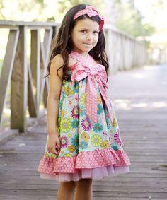 Blue & Pink Floral Bow Dress - Toddler & Girls