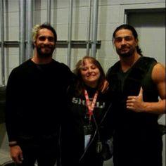 Roman and Seth w/ fan