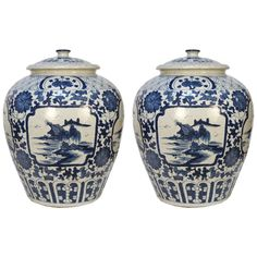 Pair of Blue and White Landscape Tea Leaf Jars | From a unique collection of antique and modern vases and vessels at https://www.1stdibs.com/furniture/decorative-objects/vases-vessels/