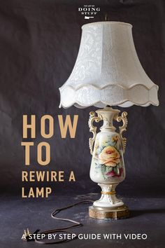 How to rewire a lamp for $5 in 10 minutes. Honestly, when you see how easy it is you're going to wonder about what ELSE is this easy that no one told you about. via @artofdoingstuff Old Lamps, I Love Lamp, Create And Craft, Diy Home Improvement, Home Repair, Trends, Wood Projects, Light Bulb, Stuff To Do