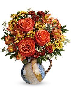 Teleflora's Blaze Of Beauty Bouquet Vase Arrangement