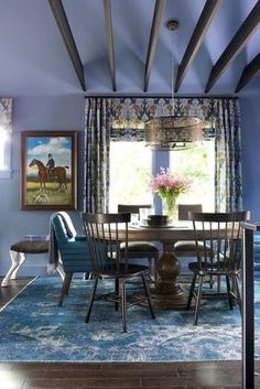 Looking for Transitional Living Space ideas? Browse Transitional Living Space images for decor, layout, furniture, and storage inspiration from HGTV. Dining Room Sets, Dining Room Blue, Dining Room Colors, Dining Table, Periwinkle Room, Room Pictures, Bars For Home, Hgtv, Great Rooms