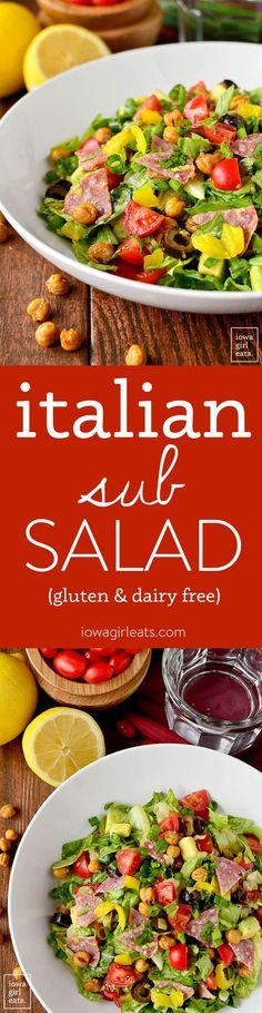 Italian Chopped Salad tastes like a jam-packed Italian deli sub. Fresh, healthy, and gluten-free!   iowagirleats.com