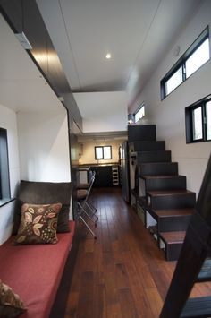 Daybed,  stairs,  ladder (2 lofts), 2-person dinner table,  windows.  Love
