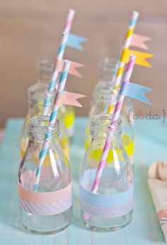 Washi tape party - 24 Great DIY Party Decorations. Vintage milk bottes, with paper straws and flags