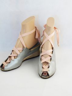 Vintage 1940s 40s Shoes Pink and Baby Blue Satin Wedge Heel Laceup Peeptoe Boudoir Slippers Sz 6 1/2 N from Alley Cats Vintage on Ruby Lane