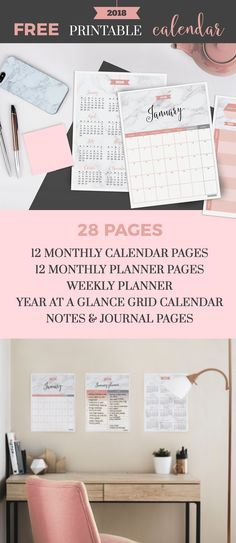 2018 Printable Calendar - Marble Blush. Jibe Prints - jibeprints.com This calendar package includes 6 high quality PDF printable files with 12 monthly calendar pages, 12 monthly planner pages, weekly planner page, year at a glance one-page grid calendar, plus notes and journal pages. That's 28 pages total and FREE for you right here! Each planner page has a space for top 3 most important goals/to-dos so you can prioritize better. And if you run out of space, just print an additional page!