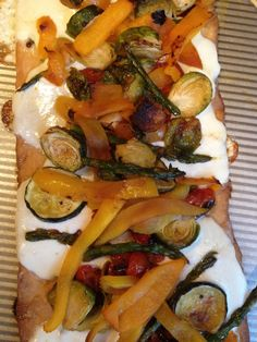 Roasted Vegetable Pizza, great to make on the grill