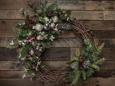Berries Pine & Silver Ornament Christmas Wreath Accent/Swag