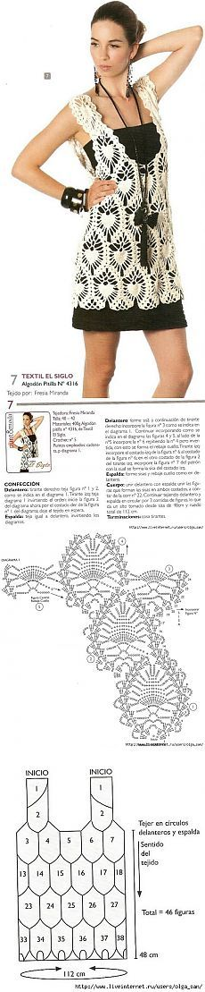 Crochet tunic chart pattern Crochet Bolero, Gilet Crochet, Crochet Coat, Crochet Tunic, Crochet Diagram, Crochet Clothes, Pineapple Crochet, Crochet Fashion, Boho Outfits