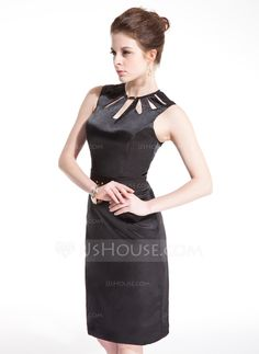 Cocktail Dresses - $112.99 - Sheath Scoop Neck Knee-Length Charmeuse Cocktail Dress With Beading (016008472) http://jjshouse.com/Sheath-Scoop-Neck-Knee-Length-Charmeuse-Cocktail-Dress-With-Beading-016008472-g8472?ver=xdegc7h0