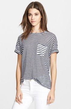 Frame Denim 'Le Boyfriend' Stripe Linen Tee