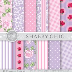 Pink & Purple SHABBY CHIC Digital Paper 12 x 12 by MNINEDESIGNS