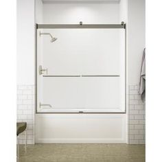Delta Classic 400 Curve 60 in. x 62 in. Frameless Sliding Tub Door in Stainless-B55910-6030-SS - The Home Depot Tub Shower Doors, Bathtub Doors, Frameless Sliding Shower Doors, Sliding Doors, Roller Design, Contemporary Baths, Contemporary Style, Marble Vanity Tops, White Sink