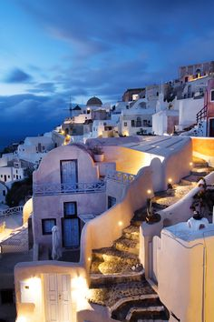 Oia after dark, Santorini, Greece
