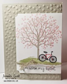 You Warm My Heart card featuring Stampin Up Sheltering Tree stamps
