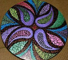 Hand painted lazy susan - looks like a great mosaic idea