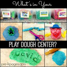 What's in Your Play Dough Center? How to set-up and organize an Play Dough center in your preschool or kindergarten classroom. A list of materials to help you create a fun, educational Play Dough center your kids will LOVE! Preschool Centers, Kindergarten Classroom, Learning Centers, Kids Learning, Preschool Teachers, Classroom Ideas, Toddler Preschool, Toddler Activities, Pre K Pages