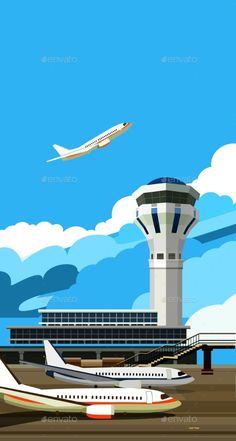 Buy Airport Building Vector Illustration by marrishuannna on GraphicRiver. vector illustration of a building near the airport runway and aircraft Airline Humor, Airline Logo, Science Illustration, Flat Design Illustration, Boys Wallpaper, Colorful Wallpaper, Air Traffic Control, Vector Photo, Private Jet