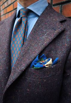 Olof Nithenius Jacket: Gaiola Napoli; Shirt: Emmett London; Tie & Pocket Square: Drake's. Source: manolo.se source More menswear & suits!