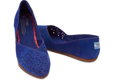 Perfect shoe to bag in your weekend bag this summer- TOMS Blue Perforated Suede Women's Jutti