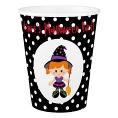 Cute Halloween Witch Girl Halloween Party Paper Cup - halloween decor diy cyo personalize unique party
