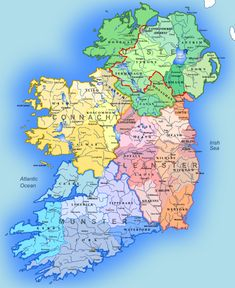 Map of Ireland (File:Ireland regions.svg on wiki): A map showing the 4 provinces of Ireland and the traditional Irish counties. Source: Atlas of William Mackenzie expired)- map of Ireland and own work. Ireland Map, Ireland Travel, Ireland Castles, Ireland Vacation, Connemara, Irish Sea, Irish Celtic, Irish Traditions, Republic Of Ireland