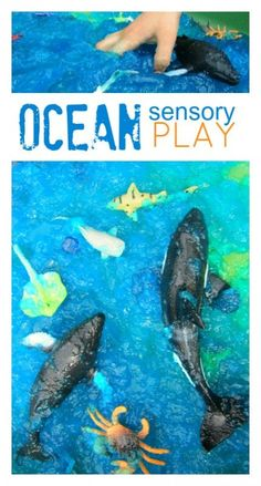 ooey gooey and so much fun. Sensory Ocean play for kids.