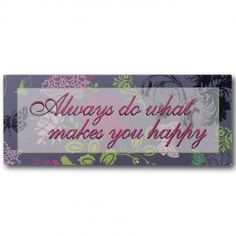 """Adeco Decorative Wall Sign Plaque """"Always Do What Makes You Happy"""" Pink Green Home Decor"""