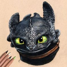 Toothless from How to Train your Dragon. Dragons Dinosaurs and Baby Yoda. Click the image, for more art by Julianna Maston. Toothless Tattoo, Toothless Drawing, Httyd Dragons, Cute Dragons, Httyd 3, Arte Disney, Disney Art, Prismacolor Art, Disney Drawings