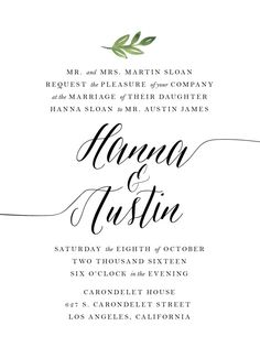 This listing is for a ready-to-print, personalized, digital wedding invitation suite with a minimalist, water-colored leaf design in high