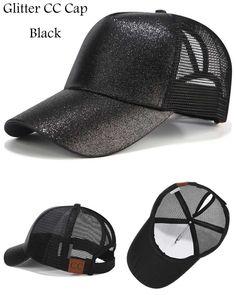 Baseball Caps 2019 2019 CC Glitter Ponytail Baseball Cap Women Snapback Hat  Summer Messy Bun Mesh Hats Casual Adjustable 34eee802ec40