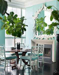 aqua color palette: dining room space
