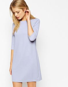 ASOS COLLECTION ASOS Shift Dress in Jumbo Rib with 3/4 Sleeves