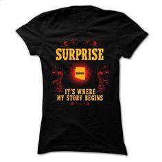 Surprise - Its where story begin - #tshirt organization #brown sweater. CHECK PRICE => https://www.sunfrog.com/Names/Surprise--Its-where-story-begin-Black-Ladies.html?68278