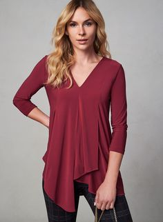 Asymmetric Hem Blouse, Red, hi-res