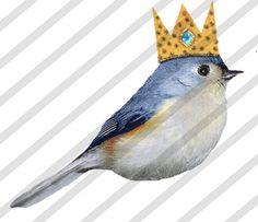 Digital Collage Sheet Birds With Crowns Sheet by lisasalteredart, $2.00