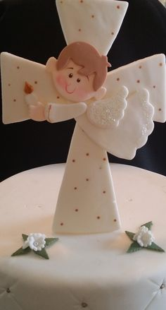 First Communion Cake Topper Baptism Cake Topper Baptism Baptism Cross Cake, Baptism Boy Favors, First Holy Communion Cake, First Communion Favors, First Communion Decorations, Cross Cakes, Cakes For Boys, Cake Toppers, Cake Decorating