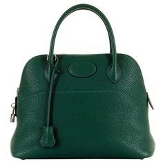 WOW! As New Hermes 31cm Rare 'Malachite Green' Togo Leather Bolide Bag with SHW 2