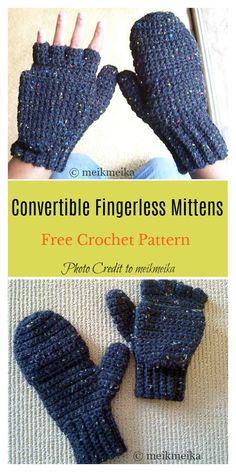 6eefa302e 2 in 1 Fingerless Gloves   Mittens Free Crochet Pattern