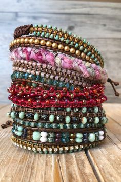 Beautiful stackable bohostyle wrap bracelets #bohojewelry #bracelets #wrapbracelet Hippie Jewelry, Hippie Boho, Bangles, Wrap Bracelets, Boho Fashion, Trending Outfits, Unique Jewelry, Handmade Gifts, Shopping