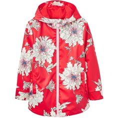 Joules Girls Raindance Floral Rubber Coat (155 RON) ❤ liked on Polyvore featuring outerwear, coats, rubber coat, water proof coat, red coat, hooded coat and waterproof coat
