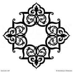 Exotic and Global Chic Decor Idea - Wall Mural or Painted Grand Ceiling Medallion Stencils from Modello Custom Stencils Custom Stencils, Stencil Designs, Custom Vinyl, Wall Art Designs, Tuscan Decorating, Decorating Blogs, Ceiling Decor, Ceiling Design, Stencil Painting On Walls
