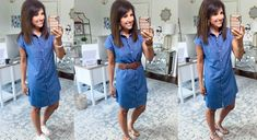3 Ways To Style a Chambray Dress - Cyndi Spivey Summer Dress Outfits, Fall Dresses, Spring Outfits, Cute Dresses, Casual Dresses, Denim Shirt Dress Outfit, Chambray Dress, Cyndi Spivey, Black Tank Dress
