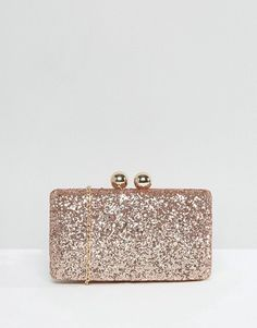 """Glitter Clutch Bag by Chi Chi London. """"""""Clutch bag by Chi Chi London, Glitter outer, Structured shell design, Fabric lining, Detachable chain strap, Clasp top closure, Do not wash, 50% Polyester, 50% Polyurethane, H: 13cm/5"""" W: 18cm/7"""" D: 6.5cm/2"""". Chi Chi London are your go... #chichilondon #bags"""