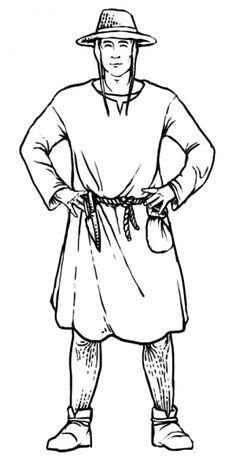 Einfacher Bauer, Beinlinge, Brouche (nicht sichtbar), Leibhemd (nur am Hals sichtbar), Cotte, Bundhaube, Strohhut, einfaches Seil als Gürtel, daran sind Besteck und ein einfacher Beutel befestigt Clothes, Middle Ages Clothing, Flatware, Sewing Patterns, Figurine, Outfits, Clothing, Kleding, Outfit Posts