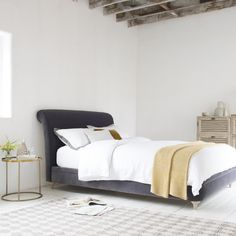 The cat's pyjamas. The bee's knees. The squidgy Dumpling bed. White Bed Sheets, White Bedding, French Bed, Flat Ideas, Comfy Bed, Upholstered Beds, Beautiful Bedrooms, Home Decor Inspiration, Dumpling